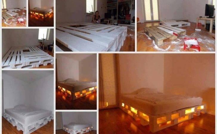 Lighted Pallet Bed Frame Great Ideas Pinterest