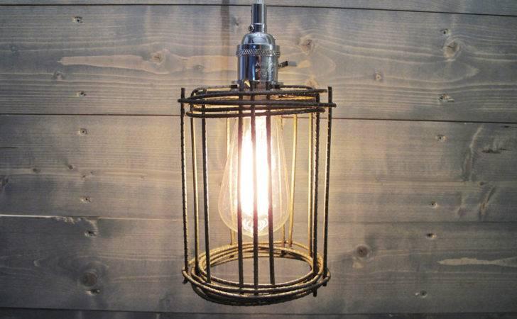 Lighting Clean Grey Steel Cage Ceiling Light Repurposed Industrial