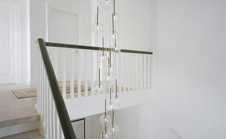 Lighting Staircase Transitional Black Handrail Bubble Light
