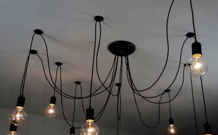 Lights Edison Chandelier Suspension Ceiling Pendant Lamp Fabric Cable