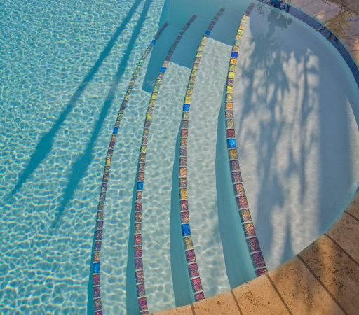 Lightstreams Glass Tile Pool Step Marker Examples