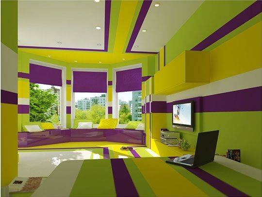 Lime Green Purple Bedrooms Apartment
