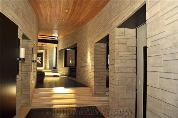 Limestone Interior Wall Glen Rose Sawn Cut Honed