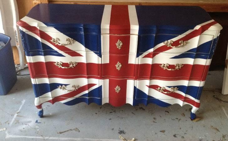 Linde Browning Design Hand Painted Union Jack Dresser