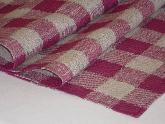 Linen Table Runner Natural Gray Purple Dark Magenta Checked