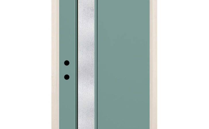Lite Rain Glass Painted Fiberglass Prehung Front Door Brickmould