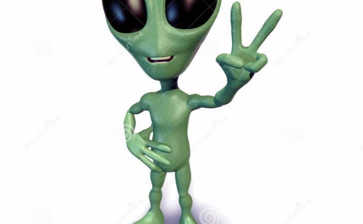 Little Green Alien Gesturing Peace