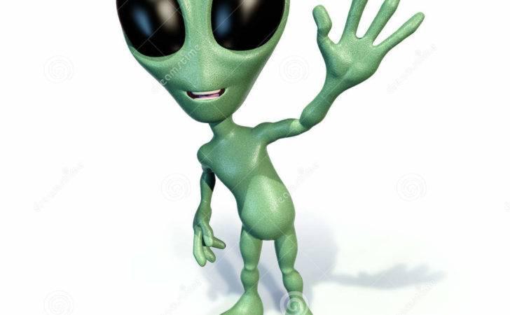 Little Green Alien Waving
