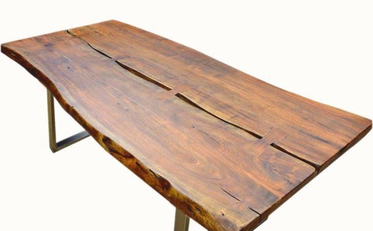 Live Edge Acacia Wood Iron Rustic Dining Table