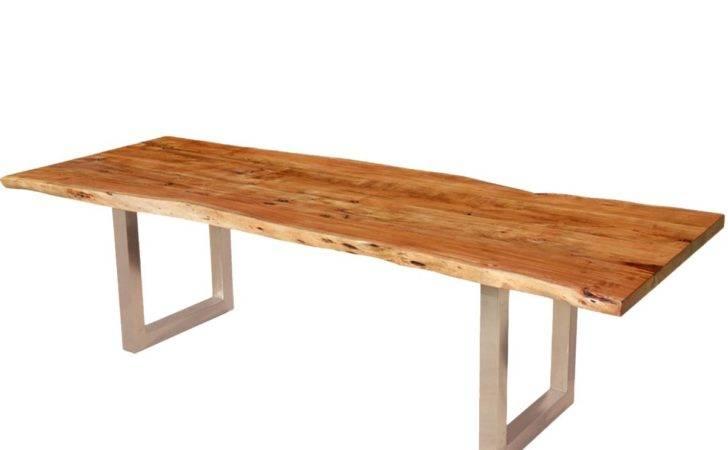 Live Edge Contemporary Acacia Wood Iron Dining Table