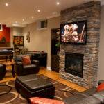 Living Room Alluring Basement Design Idea Feat Black