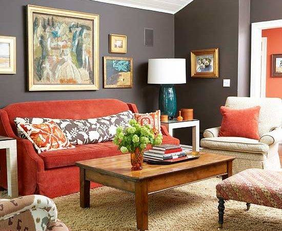 Living Room Attractive Red Accents