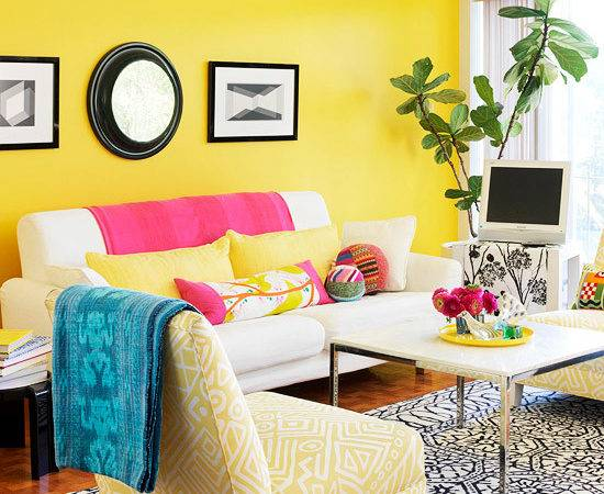 Living Room Designs White Yellow Flower Airy Spring