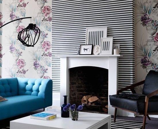 Living Room Floral Black White Striped