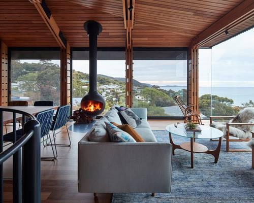 Living Room Hanging Fireplace Design Ideas Remodel