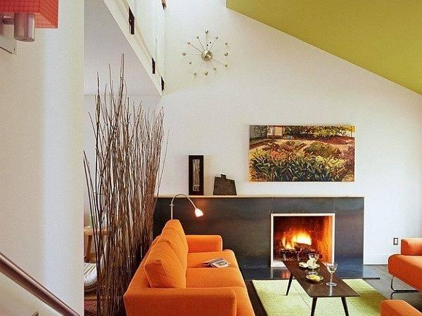 Living Room Ravishing Space Orange Sofa Chair Also