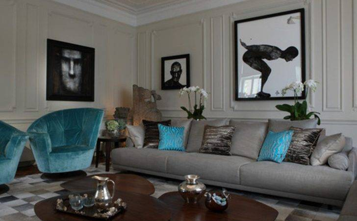 Living Room Turquoise Accents Ideas
