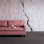 Living Room White Walls Tree Stencil