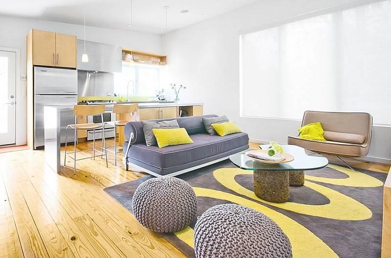 Living Room Yellow Gray
