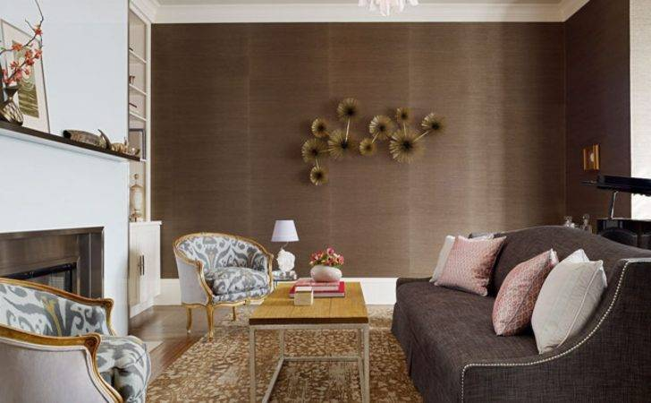 Living Rooms Chocolate Brown White Built Ins Lined Pink