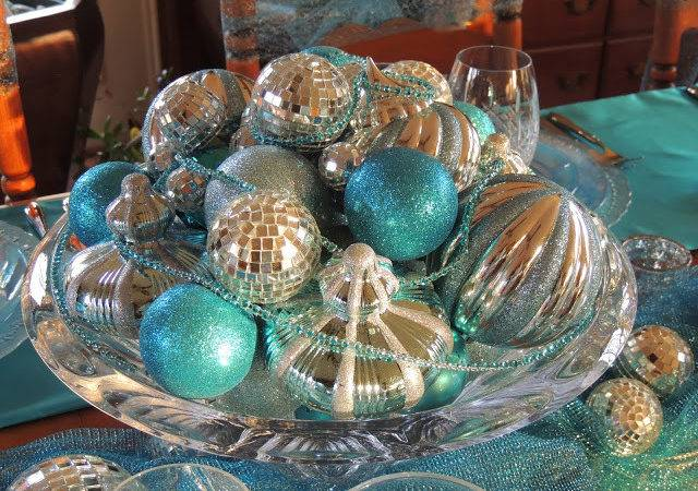 Loaded Overflowing Turquoise Silver Mirrored Ornaments