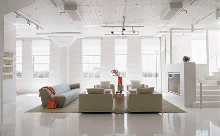Loft Apartment Design Ideas White Sofa Set Interior