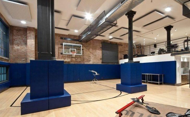 Loft Mansion Gym Fitness Center Basketball Court Interior Design