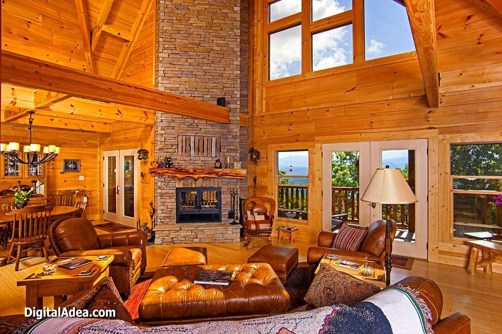 Log Cabin Living Room Design Decorating Budget
