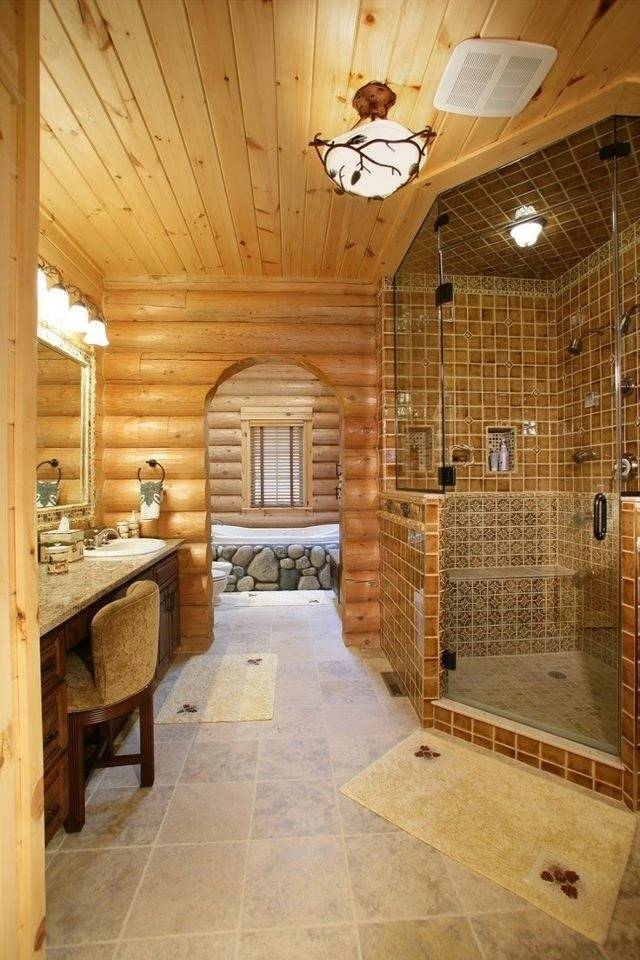 Log Cabin Master Bathroom Bathrooms Pinterest