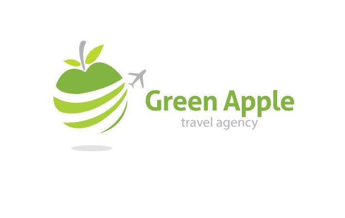 Logo Design Green Apple Travel Agency Tour