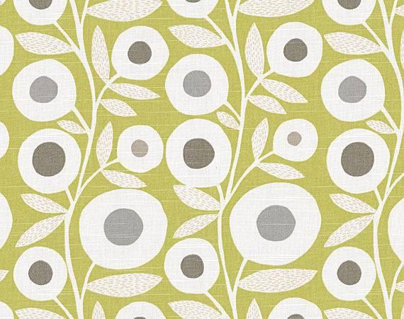 Loom Decor Chartreuse Graphic Flower Print Fabric