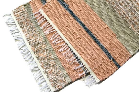 Loom Woven Rag Rug Recycled Cotton Carpet Kitchen Bath