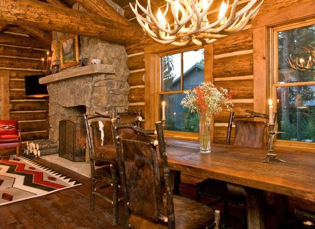 Lost Creek Jackson Wyoming Log Cabin Dining Interior