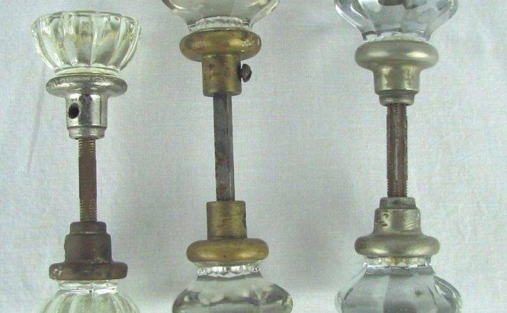 Lot Antique Crystal Glass Door Knobs Spindles Salvaged Hardware