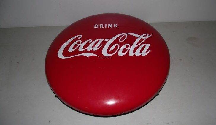 Lot Porcelain Coca Cola Button Sign Original Mounting