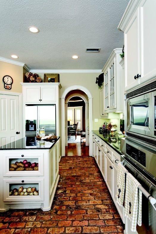 Love Brick Floors Kitchen Kitchens Red Bricks Onions