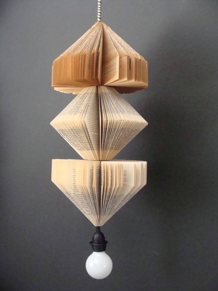 Love Pendant Lighting Fixture Upcycled Vintage Books