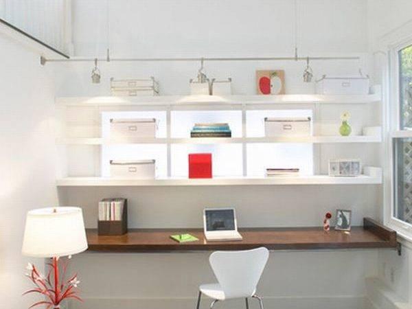 Lovely Modern Home Office White Backdrop