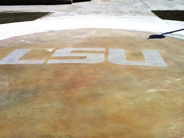 Lsu Sandblasted Concrete Logo