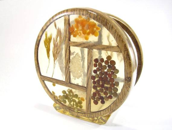 Lucite Napkin Holder Dried Rice Peas Wheat Resin Acrylic
