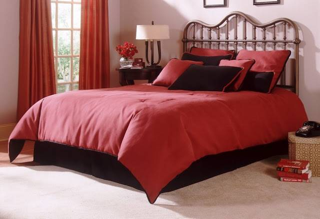 Luxurious Red Black Bedding Curtains Theme Greathomeinterior