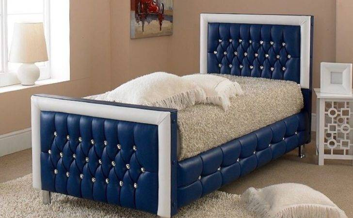 Luxury Blue Kids Toddler Childrens Crystal Diamond Bed Faux Leather