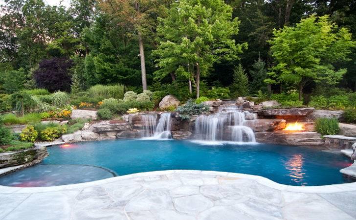 Luxury Ground Swimming Pool Waterfalls Fire Pit Design