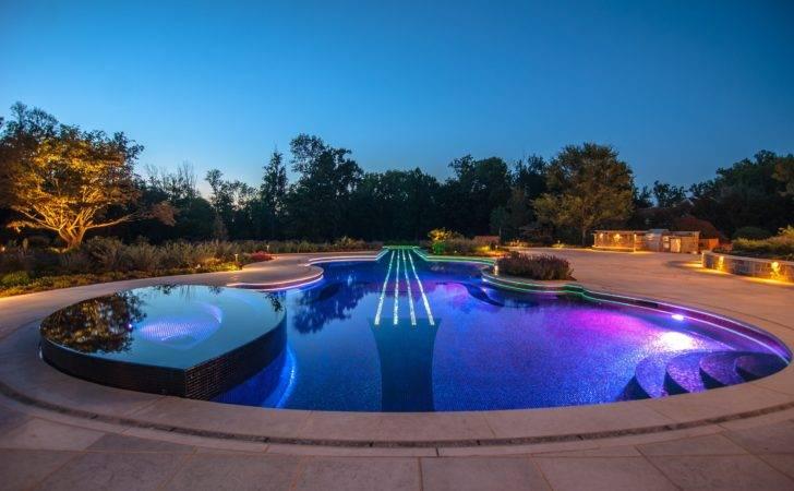 Luxury Inground Swimming Pool Waterfalls Custom Design