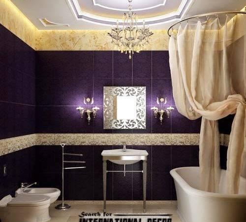 Luxury Italian Bathroom False Ceiling Design Led Lights Purple Tiles
