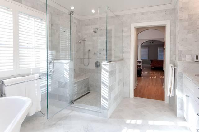Luxury Shower Body Sprays Frameless Glass Marble Master