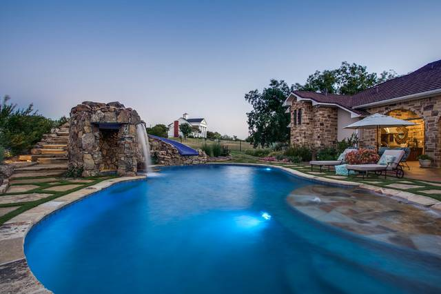 Luxury Swimming Pool Grotto Slide Dallas Rustic