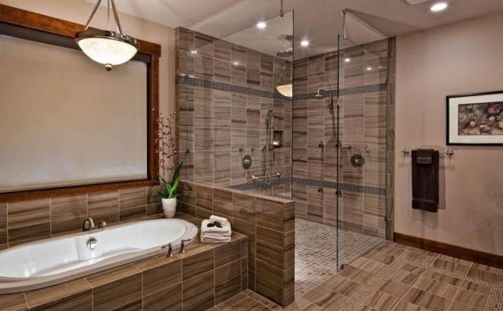 Luxury Walk Shower Made Same Tile Lines