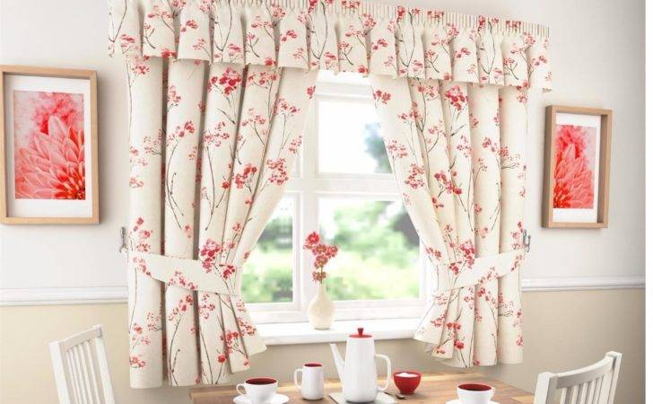 Lydia Thick Plain Floral Kitchen Curtains Pelmet Many
