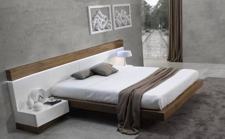 Made Ultra Modern White Walnut Floating Platform Bed King Ebay